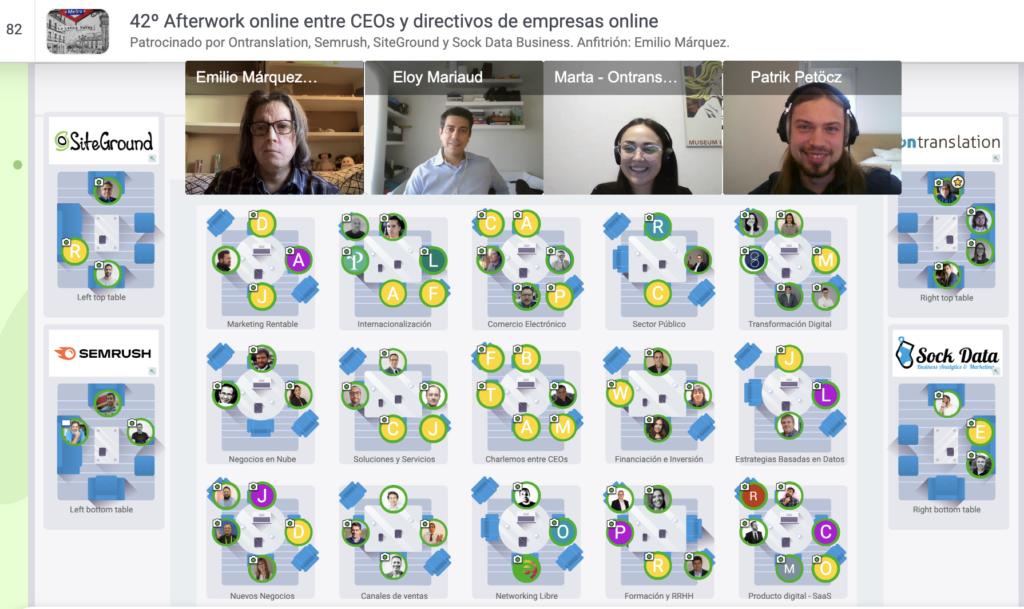 10 febrero 2021: 42º Afterwork online entre CEOs y directivos de empresas online Captura de pantalla 2021 02 10 a las 17